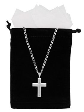 Men's Stainless Steel Diamond Accent Cross Pendant Necklace Chain