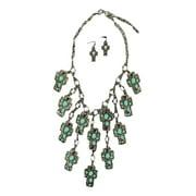 Jewelry Womens Necklace Earrings Cross Turq 30738