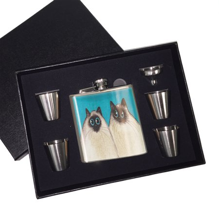 KuzmarK 6 oz. Stainless Steel Flask Set in Black Presentation Box -  Silly Himalayan Kitties Abstract Cat Art by Denise