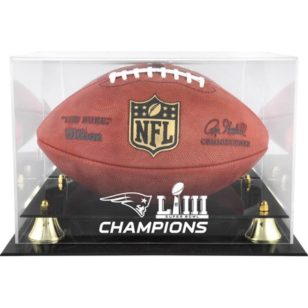 New England Patriots Super Bowl LIII Champions Golden Classic Football Logo Display Case