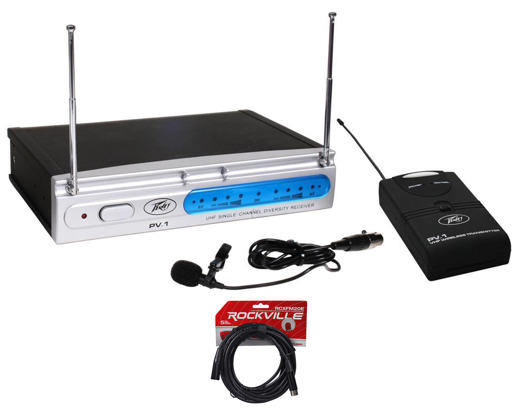 Peavey PV-1 U1 BL 923.70 Mhz UHF Wireless Lavalier Microphone System+XLR Cable by Peavey