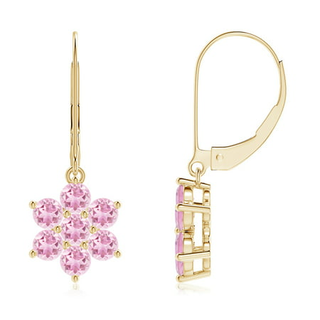Mother's Day Jewelry - Round Pink Tourmaline Floral Cluster Dangle Earrings in 14K Yellow Gold (3mm Pink Tourmaline) - -