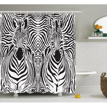 Zebra print decor shower curtain set illustration pattern for Zebra bathroom accessories