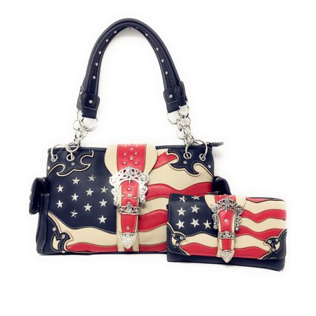 Texas West American Flag Rhinestone Women Leather Concealed Handbags Purse Wallet Set In Multi Colors ()