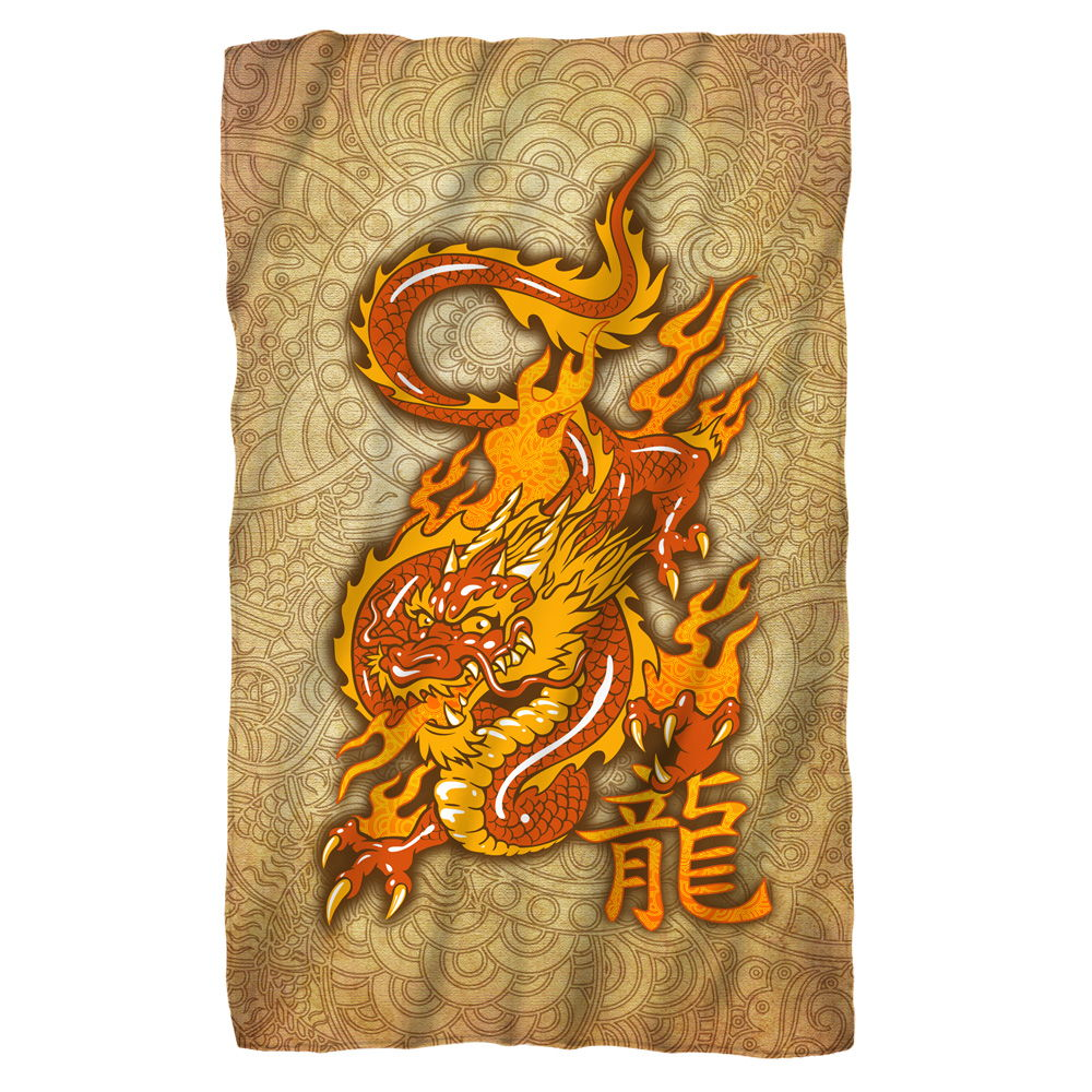 Oriental Dragon Fleece Blanket White 48X80