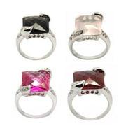 De Buman  Sterling Silver Genuine Pink Quartz, Created Pink Tourmaline or Smoke Quartz Ring
