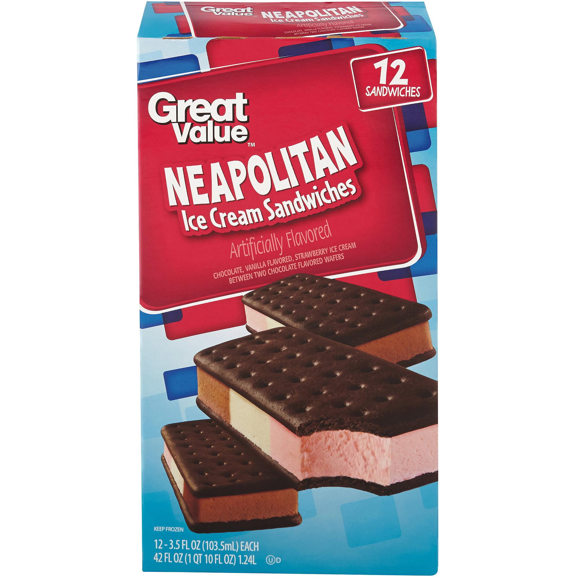 Great Value Neapolitan Ice Cream Sandwiches, 3.5 oz, 12 count
