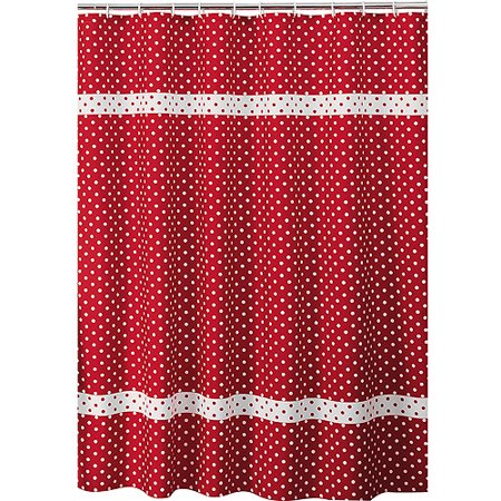 Allure Home Creations Dots Shower Curtain Red
