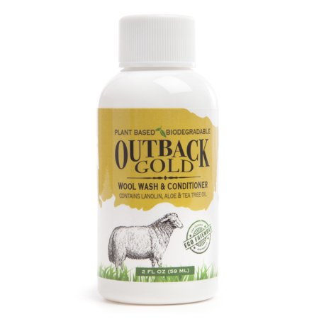 Outback Gold, Wool Wash, 2 OZ Sample Size, Plant Based Mild Liquid Soap, Cleans and Conditions Sheepskin, Wool and Delicates, with Lanolin, Tea Tree Oil, Aloe, Coconut Oil, Scented with Essential Oils