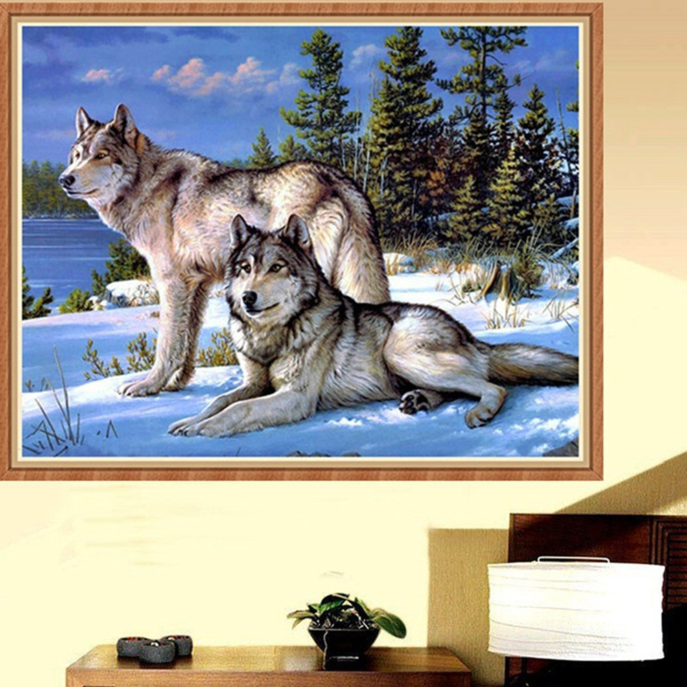 Girl12Queen Cool Wolf 5D DIY Diamond Painting Embroidery Cross Stitch Kit Craft Wall Decor