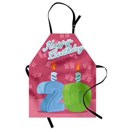 Party Bib - 20th Birthday Apron Birthday Party Themed Lettering on the Pink Colored Backdrop, Unisex Kitchen Bib Apron with Adjustable Neck for Cooking Baking Gardening, Fern Green and Baby Blue, by Ambesonne