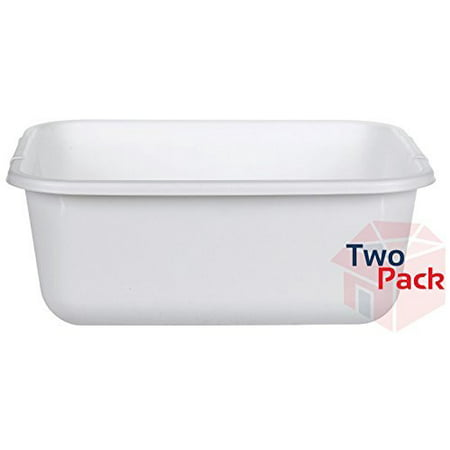 - 11.4 QT White Plastic Rectangular Dish Pan, 14.45