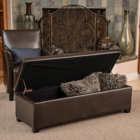 Christopher Knight Home Lucinda Brown Bonded Leather Storage Ottoman Bench - Christopher Knight Home Lucinda Brown Bonded Leather Storage
