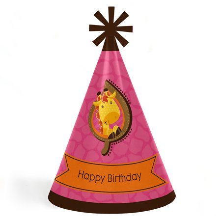 Giraffe Girl - Cone Happy Birthday Party Hats for Kids and Adults - Set of 8 (Standard Size) - Happy Birthday Kids