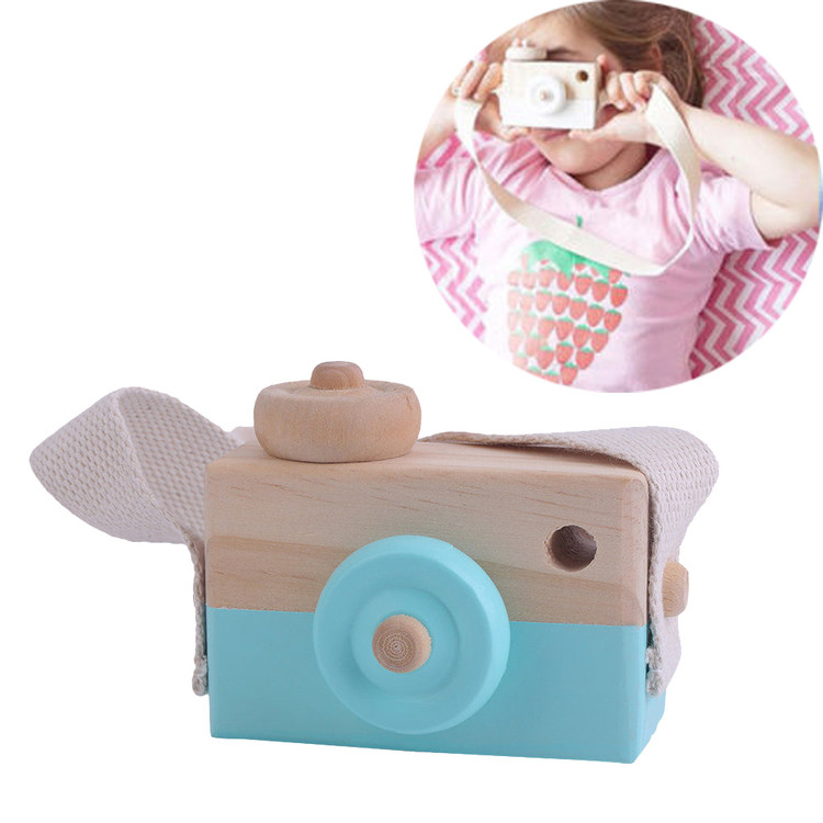 Cute Wooden Toy Camera Kids Girls Boys Creative Neck Camera Photo Props Decor Great Gift for Your Child 3 Colors, Green
