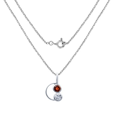 Sterling Silver Red Garnet & White Topaz Pendant Necklace For Women by Orchid Jewelry + Free Jewelry Pouch