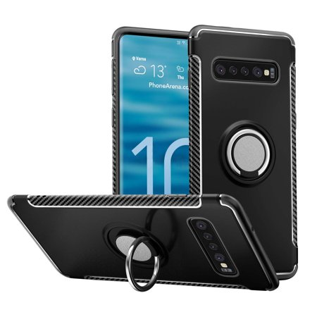 Windrew Galaxy S10 Plus 2019 case,TPU + PC Mixed Double case,Suitable for Galaxy S10 Plus 6.4 inch Full Body Heavy Duty Protection 360 Rotating Metal Hidden Ring (Best Protection For Pc 2019)
