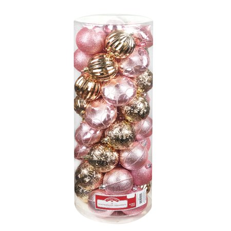 Holiday Time Pink and Gold Shatterproof Ornaments, 50 count - Walmart.com