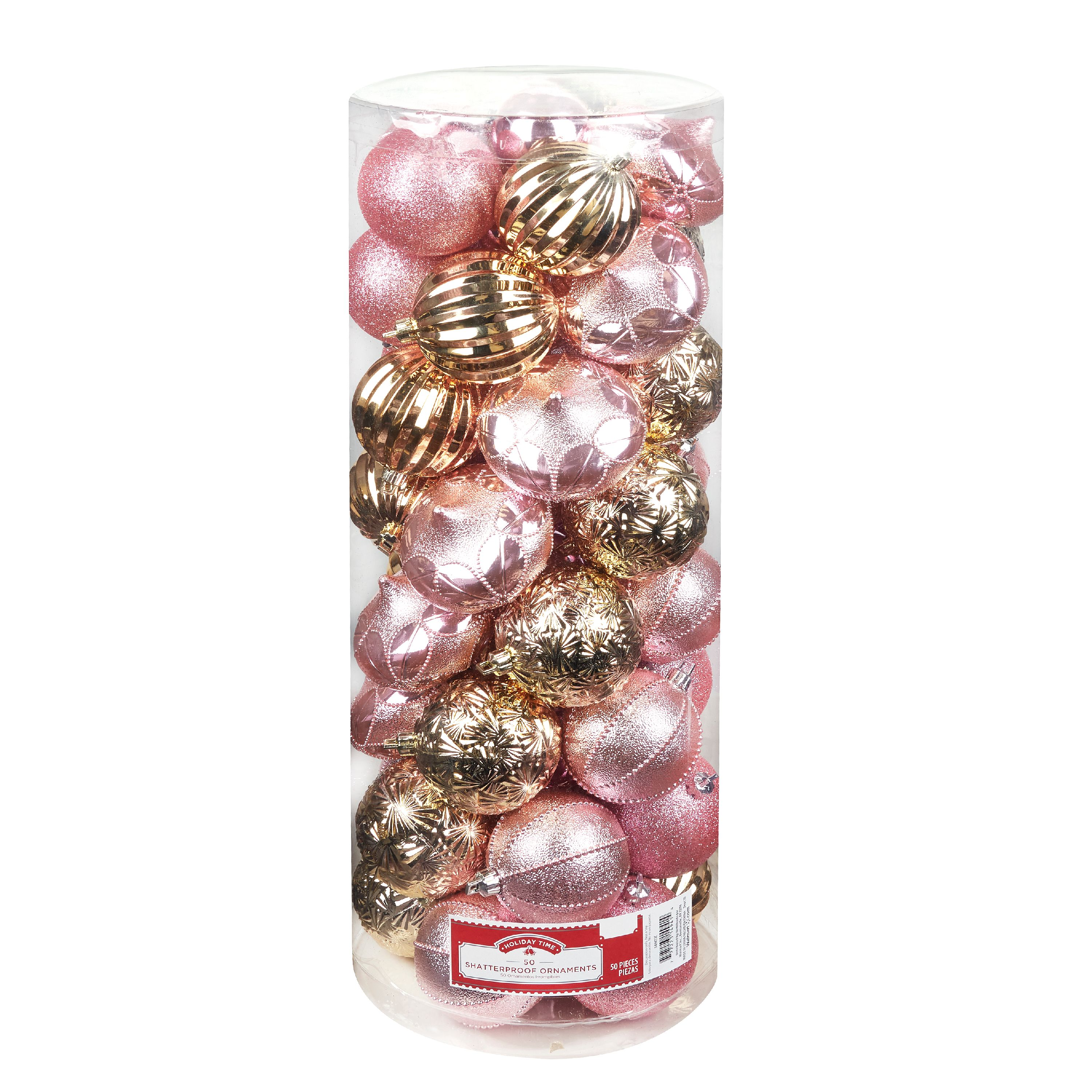 Holiday Time Pink and Gold Shatterproof Ornaments, 50 count