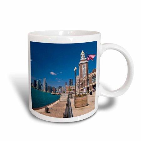 3dRose Chicago skyline from Navy Pier, Illinois - US14 JRE0015 - Joe Restuccia III, Ceramic Mug, 15-ounce