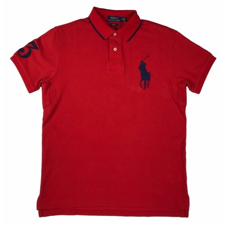 ralph lauren mens big pony logo 3 custom fit polo shirt black/white/blue/red new (xl,red) (Ralph Lauren Polo Shirts For Men)