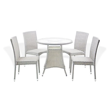Outdoor Patio Set of 4 Wicker Side Chairs and Dining Round Table Garden Deck Backyard, Gray ()