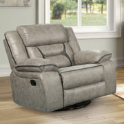 Elkton Manual Motion Recliner with Storage Console, Taupe