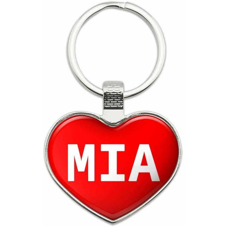 Mia - Names Female Metal Heart Keychain Key Chain Ring, Multiple Colors Available