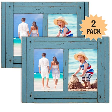 Rustic Shabby Chic Turquoise Blue Weathered Distressed Vintage Style Wooden Picture Frame with Self-Stand Easel, Each Frame Holds Two 5
