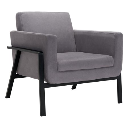 Modern Contemporary Urban Living Room Office Lounge Chair, Grey Gray - Cashmere Fabric Painted Steel
