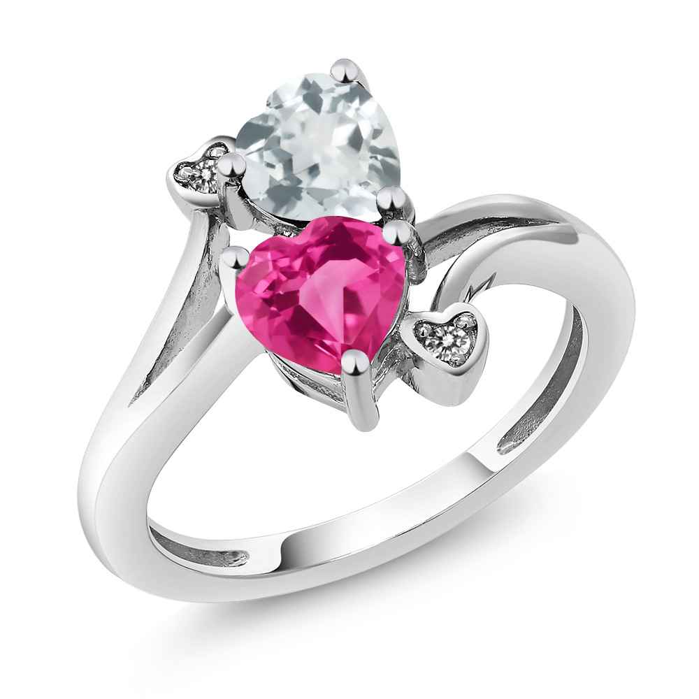 1.50 Ct Pink Created Sapphire Sky Blue Aquamarine 14K White Gold Ring by