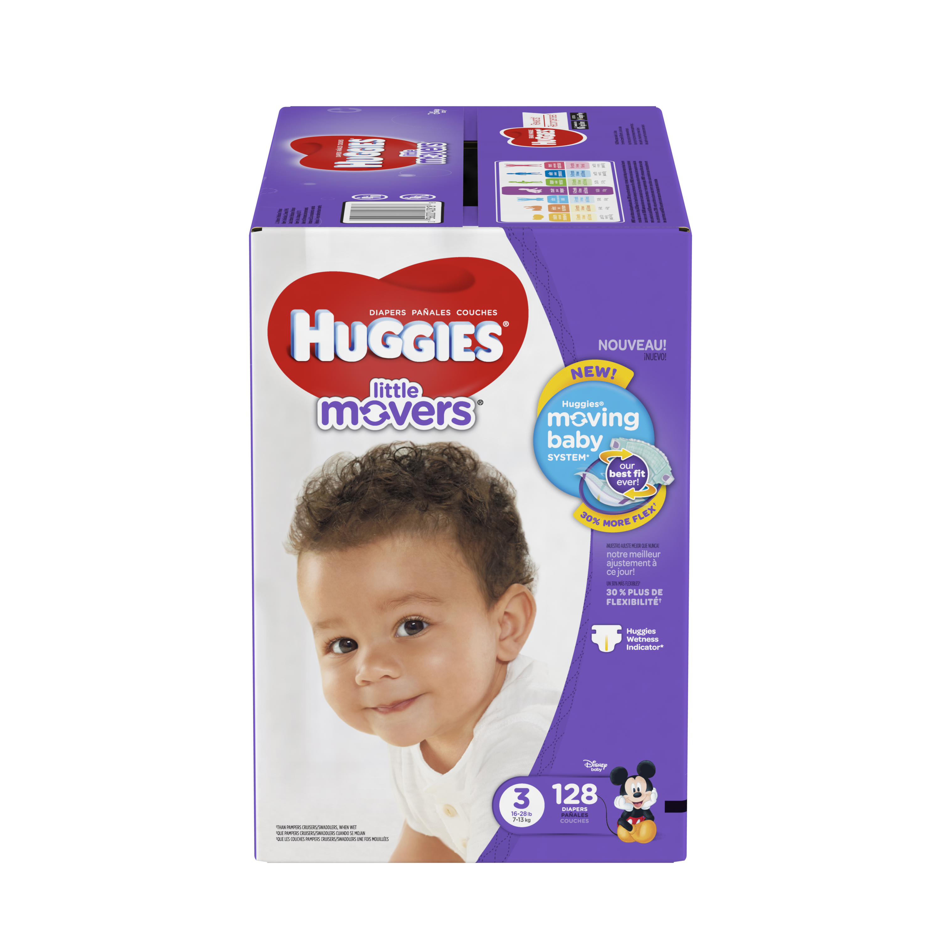HUGGIES Little Movers Diapers, Size 3, 128 Diapers