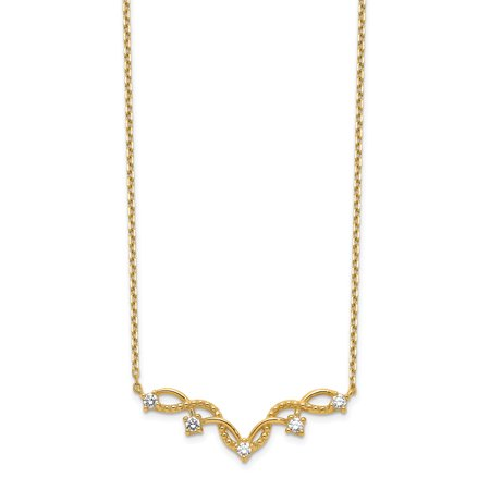14K Yellow Gold Weaved Bar Cubic Zirconia with 2In Extender Necklace