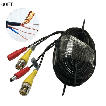 Bnc Rca Cctv Camera (60FT Security Camera Cable CCTV Audio Video Power Wire BNC RCA Black Cord for CCTV dvr surveillance)
