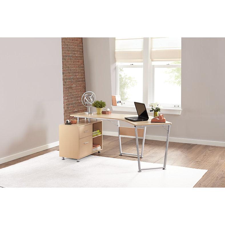 Realspace B Dog Leg Desk Oak, Dog Leg Desk