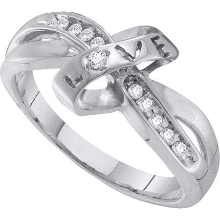 10K White Gold 0.10ctw Channel Set Diamond Twist Love Knot Engagement Band (Channel Set Twist)