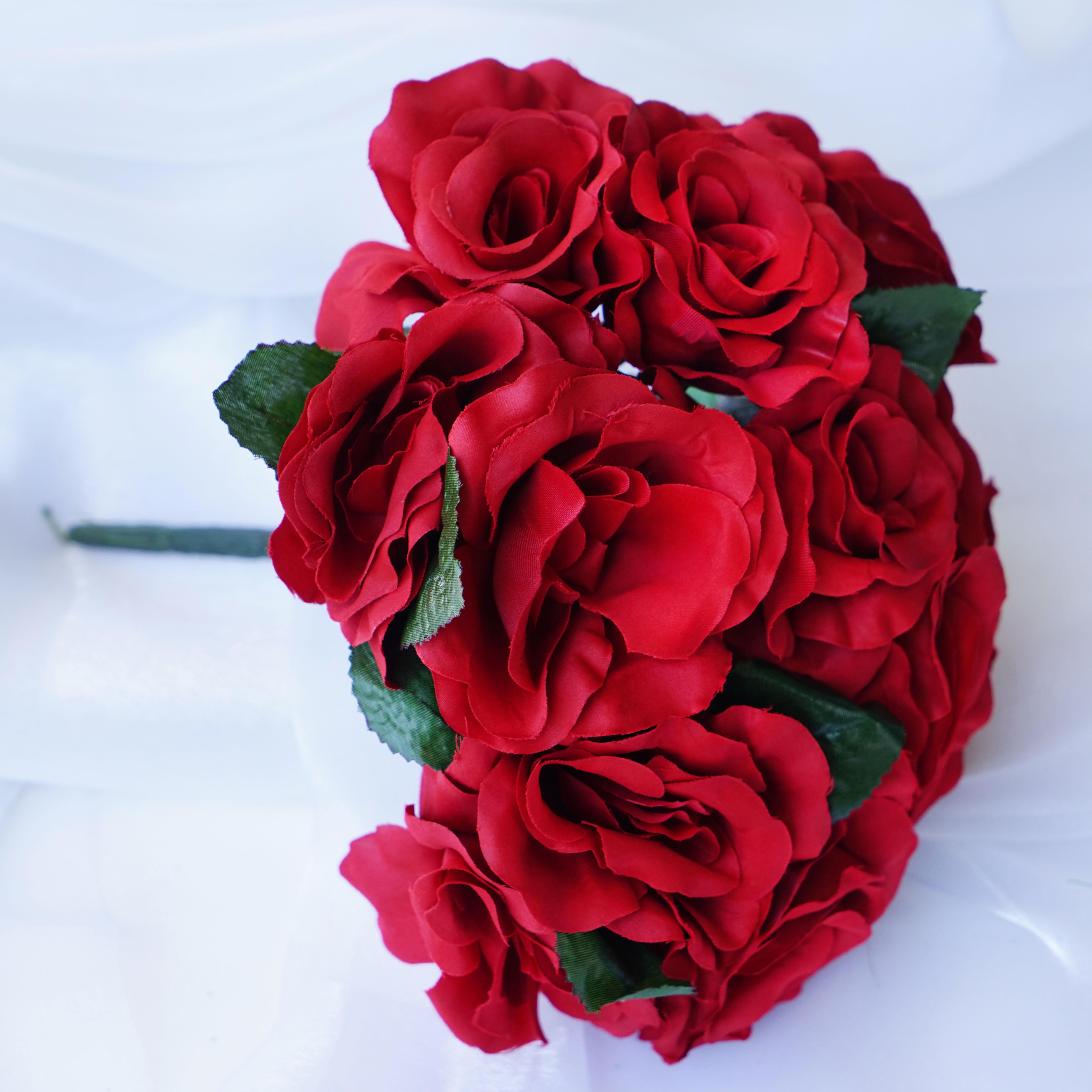 BalsaCircle 4 Velvet Roses Bouquets Bridal Flowers DIY Home Wedding Party Artificial Bouquets Arrangements Centerpieces by BalsaCircle