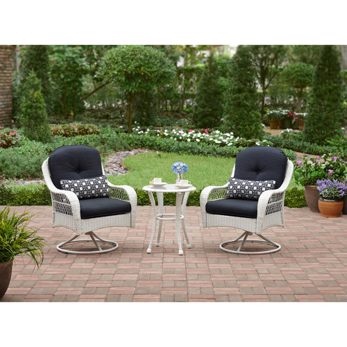 Better Homes and Gardens Azalea Ridge 3-Piece Woven Bistro Set, White, Seats 2