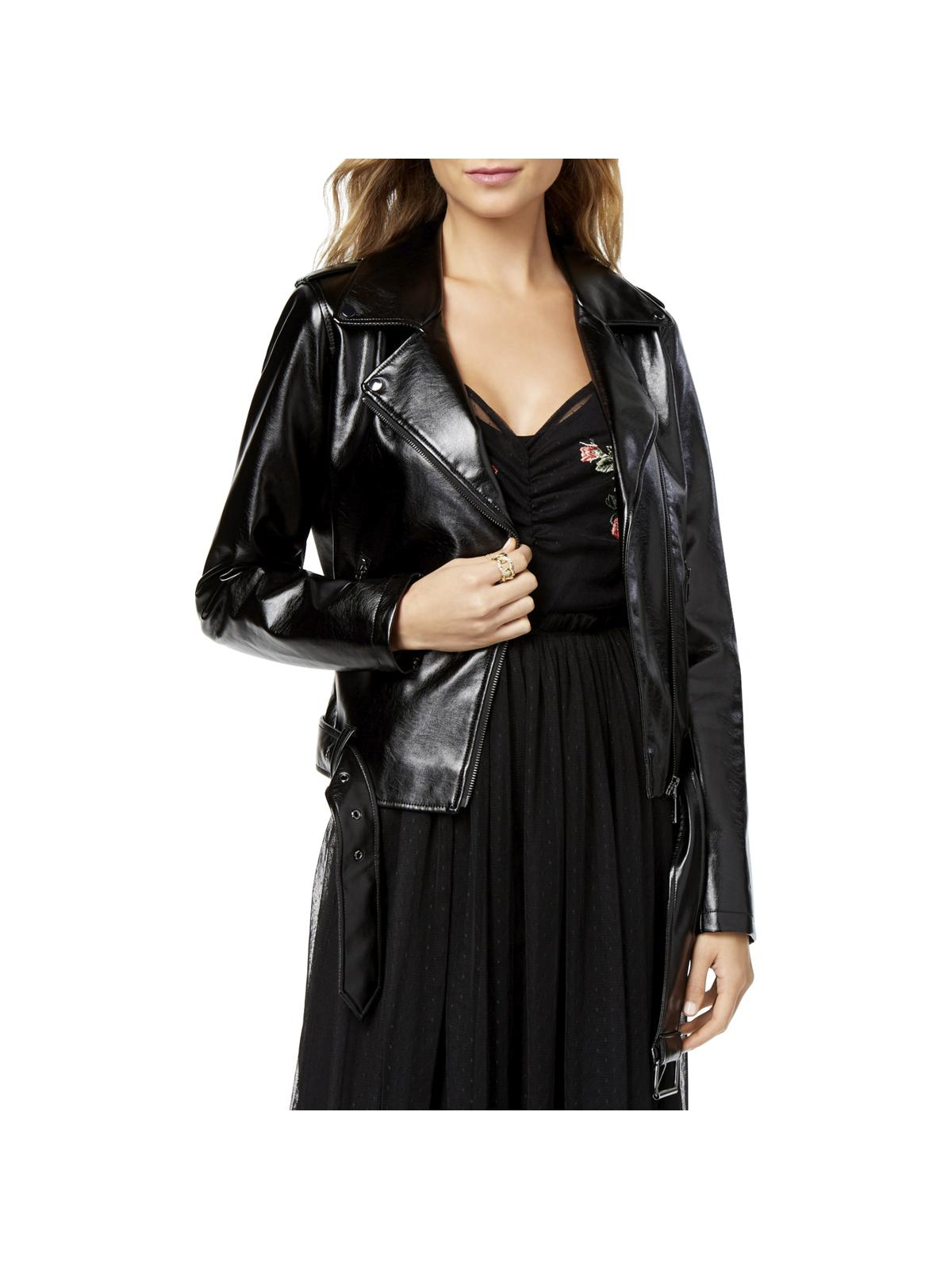 Guess Womens Faux Leather Metallic Motorcycle Jacket