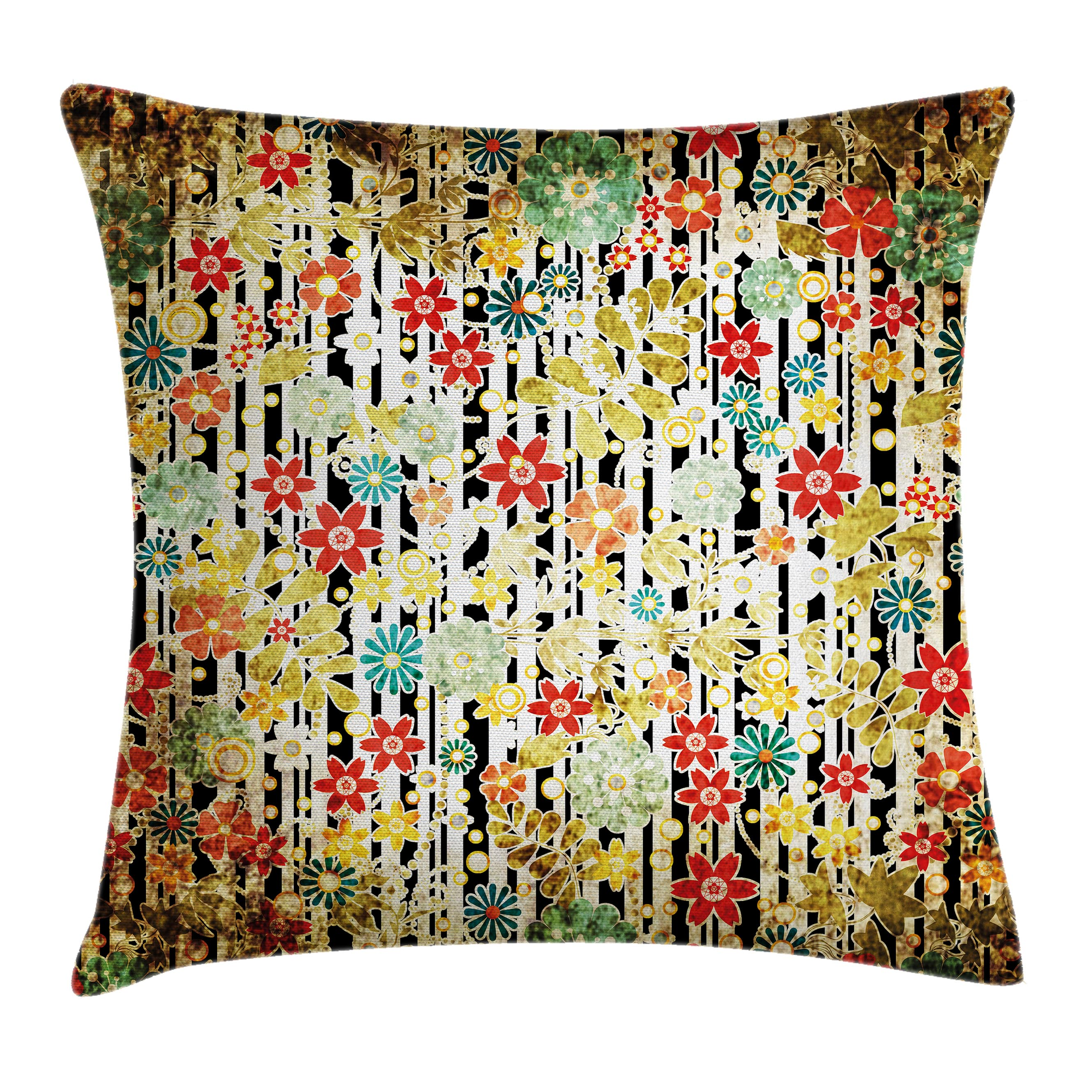 Floral Decor Throw Pillow Cushion Cover, Ivy Line like Colored Flowers Leafs and Buds with Striped Background Artwork, Decorative Square Accent Pillow Case, 16 X 16 Inches, Multicolor, by Ambesonne