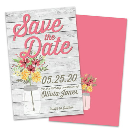 Personalized Mason Jar Save The Dates - Save The Date Magnets Cheap