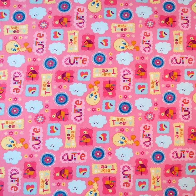 SheetWorld Fitted Crib / Toddler Sheet - Baby Tweety Pink
