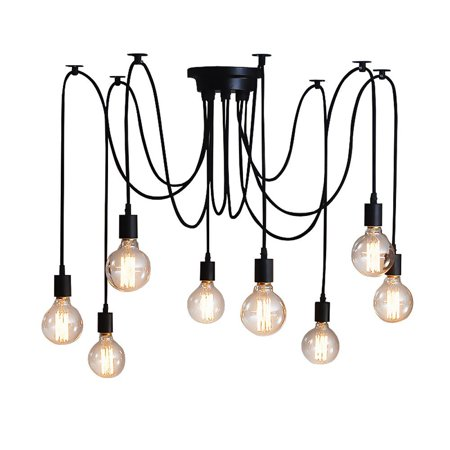 8 head Vintage Edison Multiple Ajustable DIY Ceiling Spider Lamp Light Pendant Lighting Chandelier Modern Chic Industrial Dining(light bulb is not included) ()