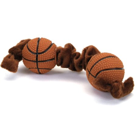(Coastal Pet Products Lil Pals 84205 45LDOG Plush/Vinyl Squeaker Basketball Tug Dog Toy, 8 Inch)