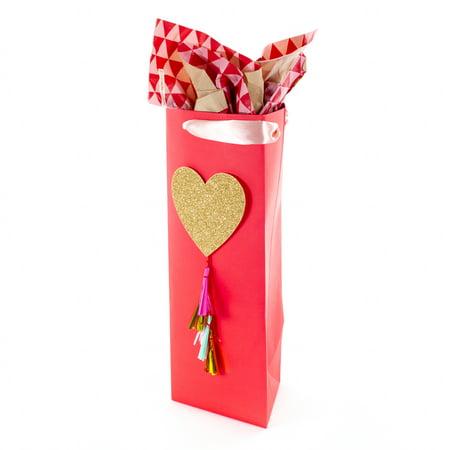 Hallmark Signature Bottle Gift Bag with Tissue (Glitter Heart)