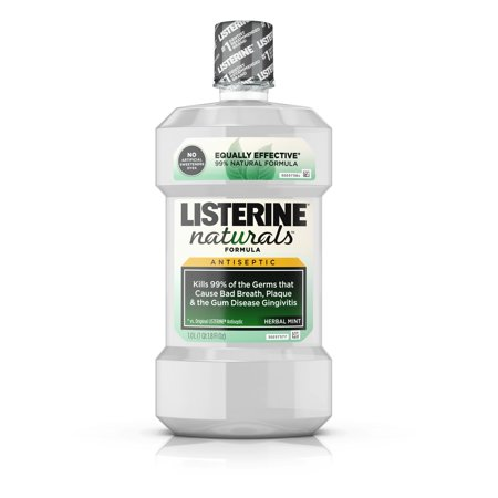 (2 pack) Listerine Naturals Antiseptic Mouthwash, Fluoride-Free, Mint, 1 L ()