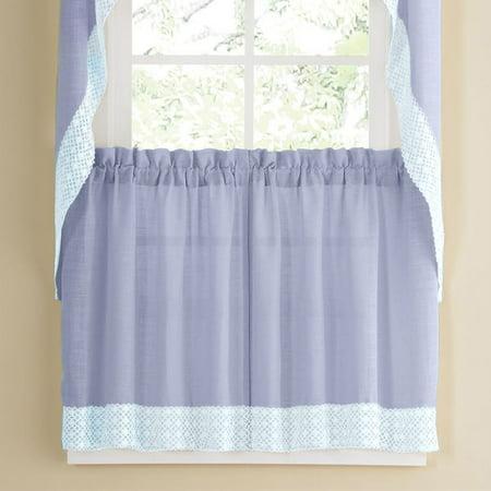 Salem Kitchen Window Curtain w/ Lace Trim - 36 x 60 Tier Pair - Blue Lace Trimmed Tier