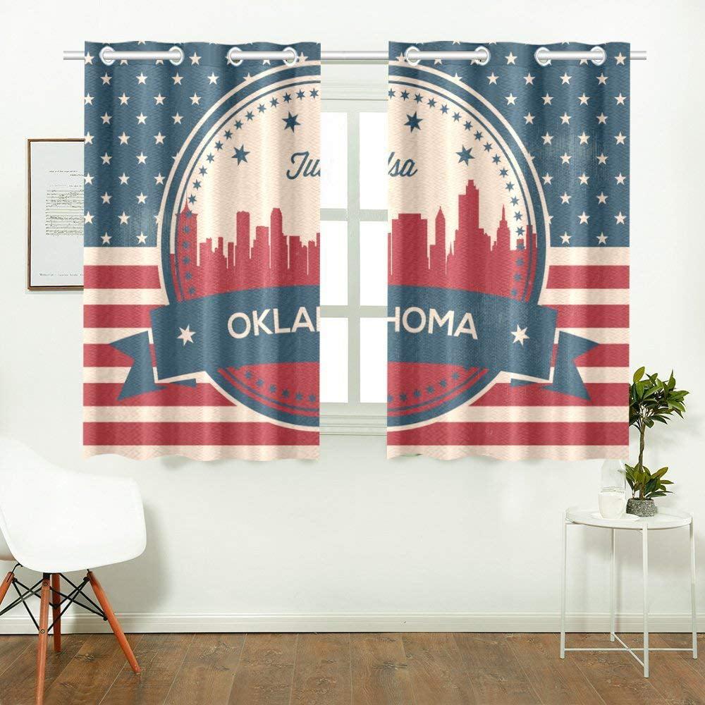 CADecor Vintage Oklahoma State Tulsa SkylineWindow Treatment Panel Curtains Window Curtain Kitchen Curtain,Two Piece 26x39 Inces
