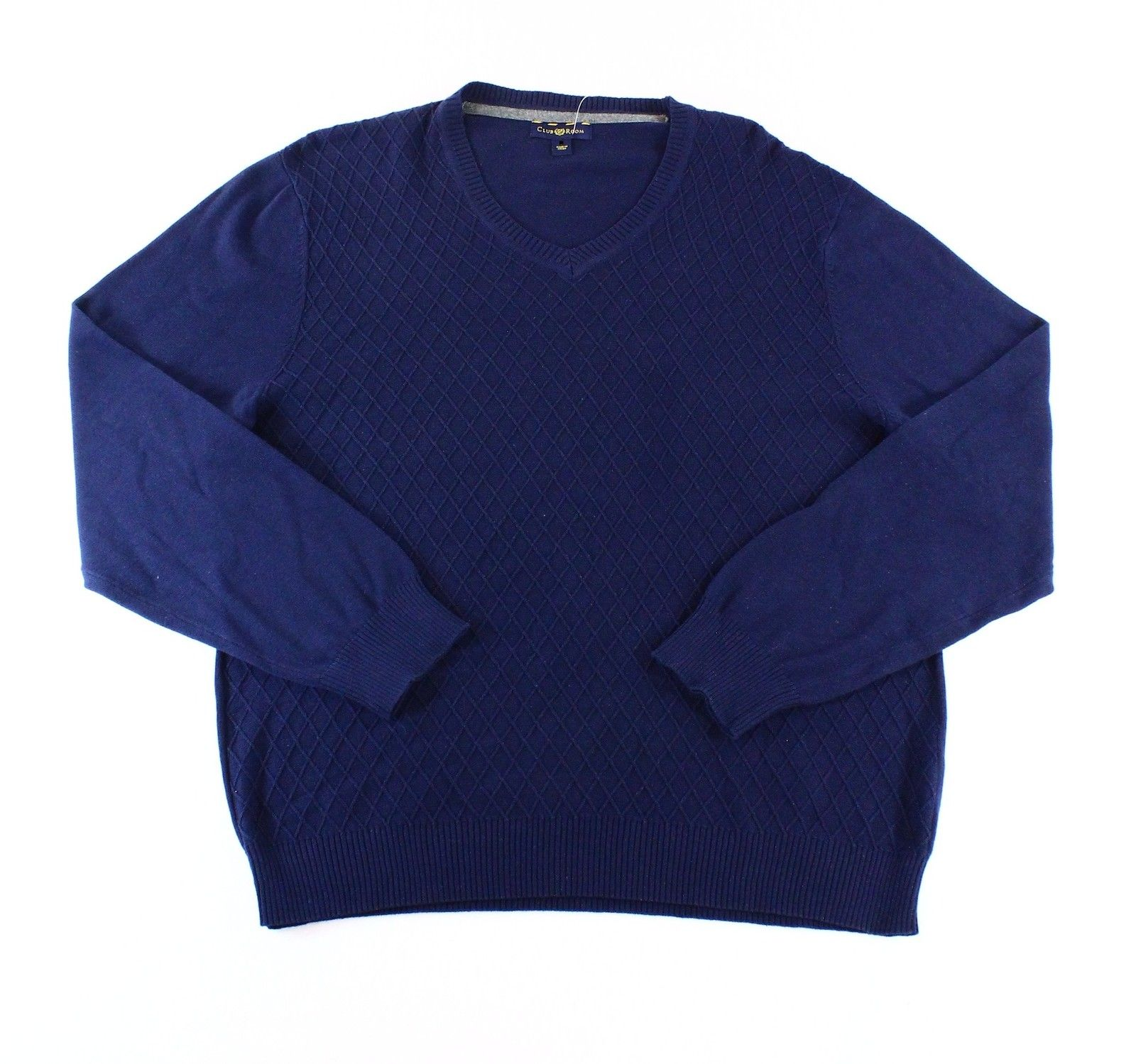 Club Room NEW Navy Blue Mens Size 2XL Argyle Knit V-Neck Sweater