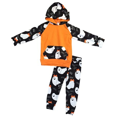 Toddler Girls 2 Pieces Set Halloween Ghost Outfit Sweater Hoodie Pants Clothing Black Orange 2T XS (P400487P) - Black And Orange Outfit For Halloween
